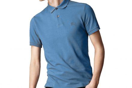 Burberry Ανδρική Πόλο Polo Μπλούζα Brit με κουμπιά σε Γαλάζιο χρώμα