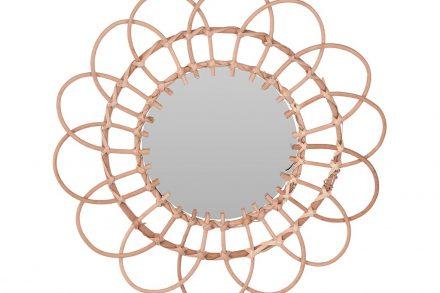 Στρογγυλός Επιτοίχιος Καθρέφτης σε σχήμα Λουλούδι σε καφέ χρώμα με διάμετρο 49 cm - Aria Trade