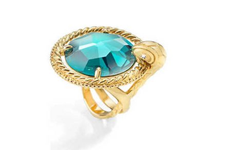 Just Cavalli Γυναικείο Κόσμημα Δαχτυλίδι από ανοξείδωτο ατσάλι σε Χρυσό Χρώμα με Πράσινο Κρύσταλλο και Χρυσή λεπτομέρεια της σειράς JUST QUEEN