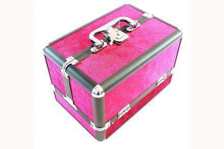 Επαγγελματικό Βαλιτσάκι Μακιγιάζ Καλλυντικών με βελούδινη επένδυση σε φούξια χρώμα