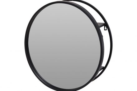 Στρογγυλός Επιτοίχιος Μεταλλικός Καθρέφτης διαμέτρου 50 cm σε μαύρο χρώμα - Aria Trade