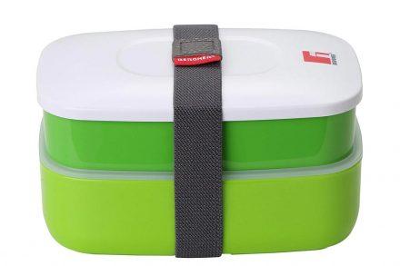 Φαγητοδοχείο Lunchbox 2 επιπέδων 1.2L με ιμάντα ασφαλείας σε πράσινο χρώμα