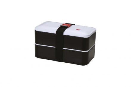 Φαγητοδοχείο Lunchbox 2 επιπέδων 1.2L με ιμάντα ασφαλείας σε μαύρο χρώμα