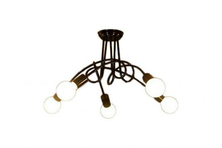 Μεταλλικό Φωτιστικό Οροφής με θέσεις για 5 λαμπτήρες σε Μαύρο Χρώμα - Aria Trade