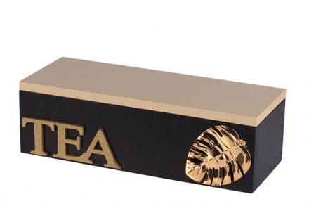 Ξύλινο Κουτί Αποθήκευσης για φακελάκια τσαγιού με 3 θέσεις σε Μαύρο χρώμα