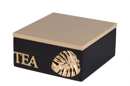 Ξύλινο Κουτί Αποθήκευσης για φακελάκια τσαγιού με 4 θέσεις σε Μαύρο χρώμα