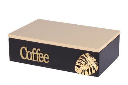 Ξύλινο Κουτί Αποθήκευσης για φακελάκια τσαγιού με 6 θέσεις σε Μαύρο χρώμα