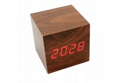 Ξύλινο Ρολόι Ξυπνητήρι σε σχήμα Κύβου με LED Οθόνη και με Usb υποδοχή