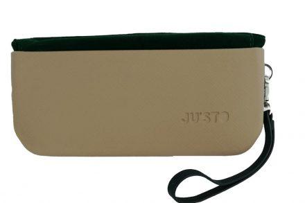 JU'STO Γυναικείο Τσαντάκι Χειρός από Καουτσούκ με χρυσή βάση και πράσινο βελούδινο εσωτερικό