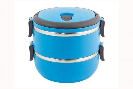 Φαγητοδοχείο Lunchbox 2 επιπέδων χωρητικότητας 1400ml με λαβή σε γαλάζιο χρώμα