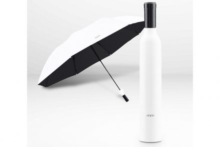 Ομπρέλα Βροχής σε Θήκη Μπουκάλι Κρασί διαμέτρου 90 cm σε Λευκό χρώμα - Aria Trade