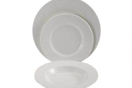 Pierre Cardin Σετ Σερβίτσια Πιάτων 18 τεμαχίων σε λευκό χρώμα με ανάγλυφο σχέδιο