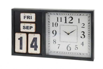 Ξύλινο Ρολόι Τοίχου με Ημερολόγιο σε μαύρο χρώμα