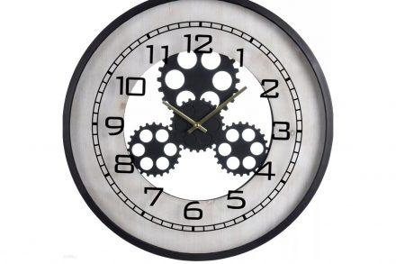 Αναλογικό Ρολόι Τοίχου με διάμετρο 48cm σε λευκό χρώμα με μαύρο πλαίσιο - Aria Trade