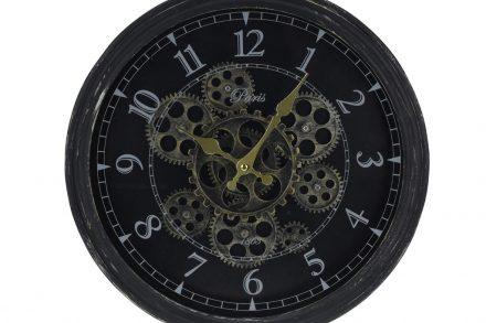 Αναλογικό Ρολόι Τοίχου με διάμετρο 37 cm και κινούμενα γρανάζια σε μαύρο χρώμα - Aria Trade