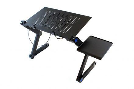 Φορητό Πτυσσόμενο Τραπεζάκι Laptop με Ανεμιστήρα και θέση για ποντίκι σε μαύρο χρώμα - Aria Trade