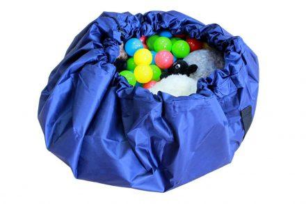 Αναδιπλούμενο χαλί παιχνιδιών Τσάντα αποθήκευσης με διάμετρο 140 cm σε μπλε χρώμα - Aria Trade
