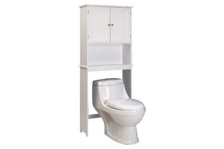 Έξυπνο Ξύλινο Έπιπλο μπάνιου με ράφια σε λευκό χρώμα