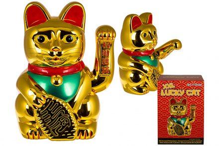 Τυχερή Γάτα που Χαιρετά Διακοσμητική XXL 35x24cm από Επιχρωμιωμένο Πλαστικό σε Χρυσό χρώμα