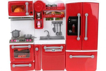 Σετ Παιδική Κουζίνα 47 Τεμαχίων με LED φωτισμό και Ήχο σε κόκκινο χρώμα