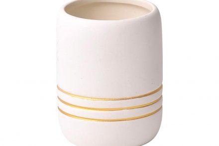 Πήλινο Δοχείο Μπάνιου για Οδοντόβουρτσες σε λευκό χρώμα με χρυσές ρίγες - Aria Trade