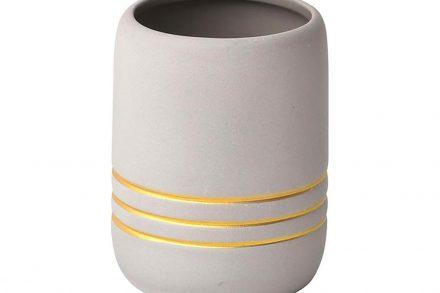 Πήλινο Δοχείο Μπάνιου για Οδοντόβουρτσες σε γκρι χρώμα με χρυσές ρίγες - Aria Trade
