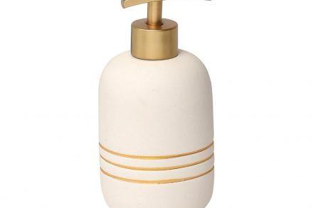 Διανεμητής Σαπουνιού Dispenser Δοχείο για Κρεμοσάπουνο σε λευκό χρώμα με χρυσές ρίγες