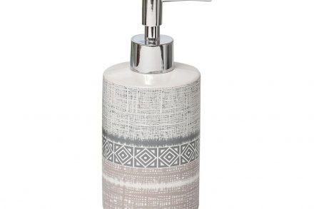 Διανεμητής Σαπουνιού Dispenser Δοχείο για Κρεμοσάπουνο σε λευκό χρώμα με γκρι σχέδιο - Aria Trade