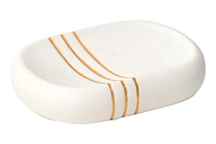 Πήλινη Σαπουνοθήκη Μπάνιου σε λευκό χρώμα με χρυσές ρίγες