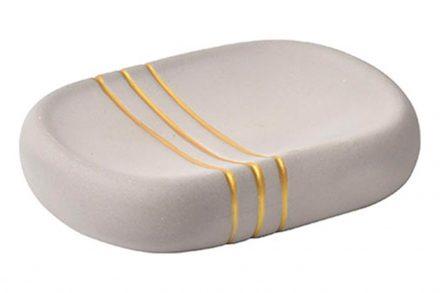 Πήλινη Σαπουνοθήκη Μπάνιου σε γκρι χρώμα με χρυσές ρίγες