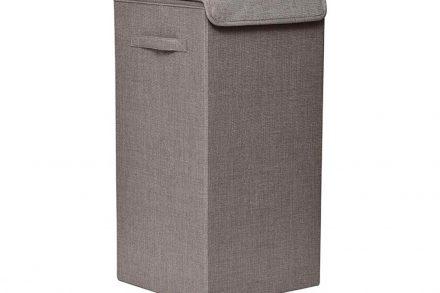 Ξύλινο πτυσσόμενο Καλάθι Άπλυτων σε γκρι καφέ χρώμα