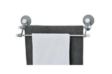 Μεταλλική Επιτοίχια Κρεμάστρα Μπάνιου για πετσέτες με βεντούζες και 2 μπάρες από Ανοξείδωτο Ατσάλι - Aria Trade