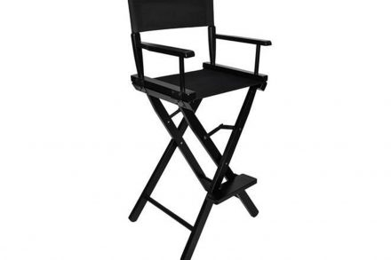 Πτυσσόμενη Καρέκλα Κριτών Σκηνοθέτη Μακιγιάζ σε μαύρο χρώμα