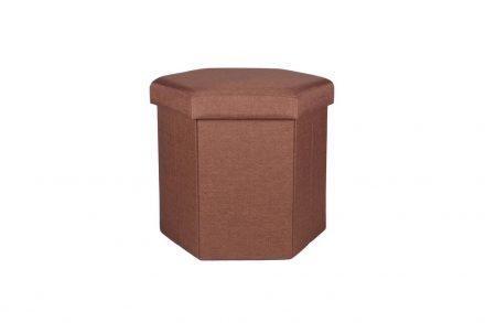 Πτυσσόμενο Υφασμάτινο Σκαμπό εξάγωνο με αποθηκευτικό χώρο σε καφέ χρώμα