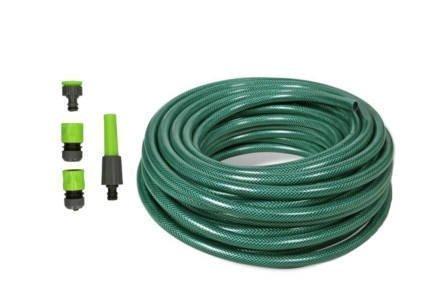 "Kinzo Λάστιχο Κήπου Ποτίσματος 15m 1/2"" με Διάμετρο 14mm σε Πράσινο χρώμα με 5 Εξαρτήματα"