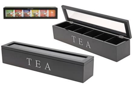 Ξύλινο Κουτί αποθήκευσης για φακελάκια τσαγιού με 6 θέσεις