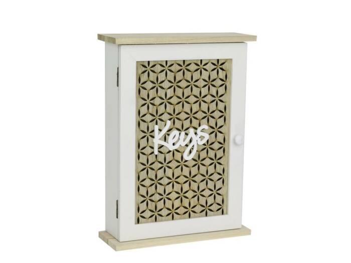 Ξύλινη Επιτοίχια Κλειδοθήκη με 6 θέσεις για κλειδιά σε λευκό χρώμα