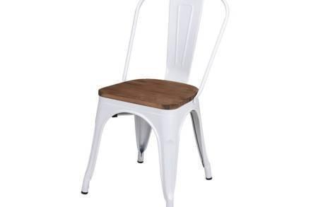 Μεταλλική Καρέκλα Εξωτερικού χώρου με ξύλινο κάθισμα σε λευκό χρώμα