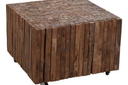 Ξύλινο Έπιπλο Ψηλό Τραπεζάκι από Τικ με Ροδάκια σε Φυσικό Σκούρο χρώμα