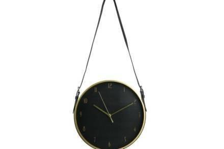 Αναλογικό Μεταλλικό Κρεμαστό Ρολόι Τοίχου με διάμετρο 30.5cm σε μαύρο χρώμα - Aria Trade