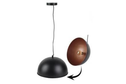 Κρεμαστό Μεταλλικό Φωτιστικό Οροφής διαμέτρου 40cm σε Μαύρο Χρώμα