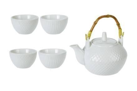 Σετ Σερβιρίσματος Τσαγιού από Πορσελάνη με Τσαγιέρα και 4 Κούπες σε λευκό χρώμα - Aria Trade