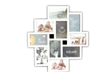 Μοντέρνα Επιτοίχια Σύνθεση με κορνίζες 10 θέσεων σε λευκό χρώμα - Aria Trade