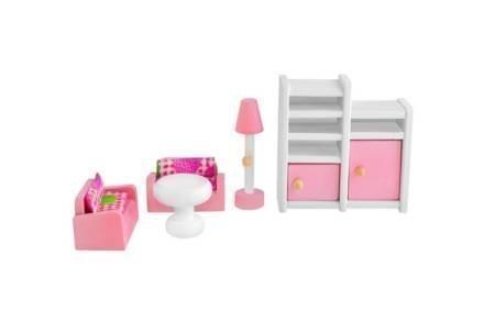 Σετ Ξύλινα έπιπλα για κουκλόσπιτο 27 τεμαχίων σε ροζ λευκό χρώμα - Aria Trade