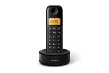 Philips Ασύρματο Επαναφορτιζόμενη Τηλέφωνο με ψηφιακή οθόνη 1.6'' σε μαύρο χρώμα