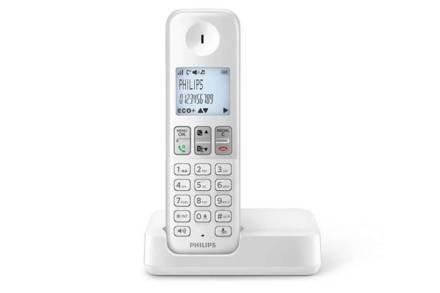 Philips Ασύρματο Επαναφορτιζόμενο Τηλέφωνο με ψηφιακή οθόνη 1.8'' σε λευκό χρώμα