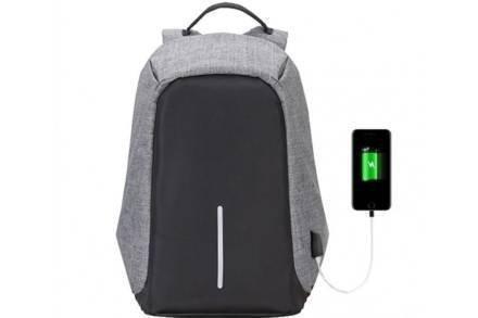 Αντικλεπτικό Σακίδιο Πλάτης με θύρα USB Τσάντα Ταξιδιού Backpack με κρυφά Φερμουάρ σε Γκρι Χρώμα