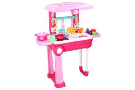 Eddy Toys Σετ Παιδική Κουζίνα Βαλιτσάκι 36 τεμαχίων σε ροζ χρώμα