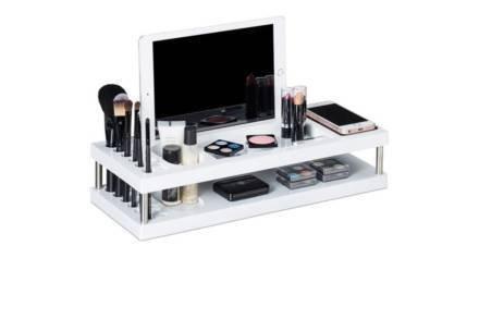 Οργανωτής Καλλυντικών Προϊόντων Μακιγιάζ με πολλαπλές θήκες σε λευκό χρώμα
