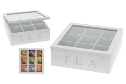 Ξύλινο Πρακτικό Κουτί αποθήκευσης για φακελάκια τσαγιού Tea box με 9 θέσεις και διάφανο καπάκι 22x22x9cm σε Λευκό χρώμα - Cb